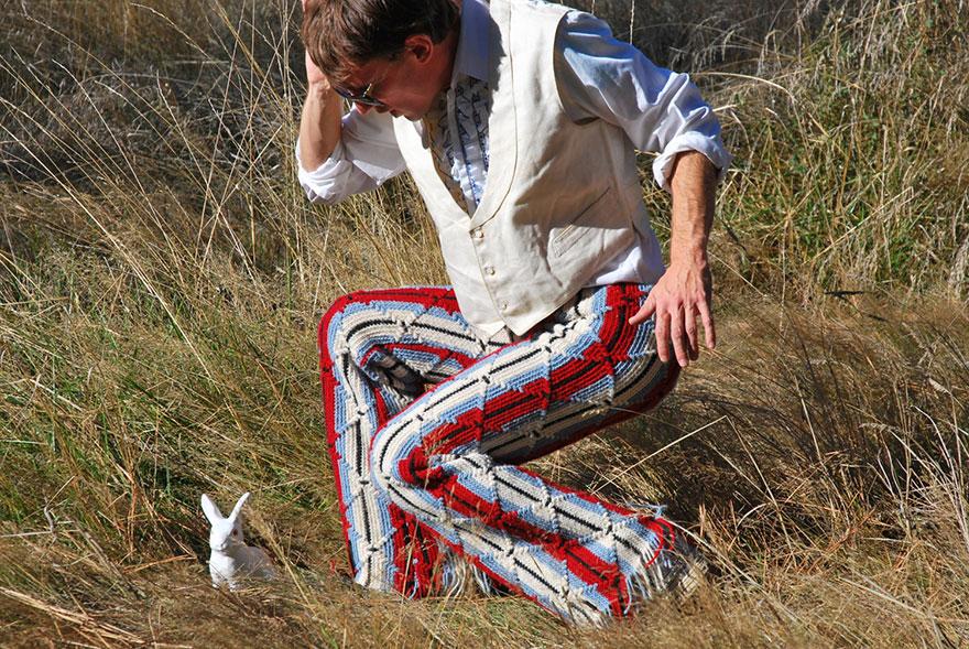 crocheted vintage shorts for men