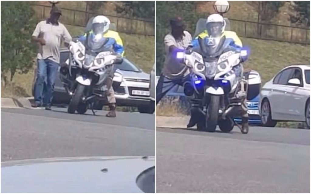 Motorcycle Cop Struggle