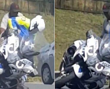 Motorcycle Cop Struggle