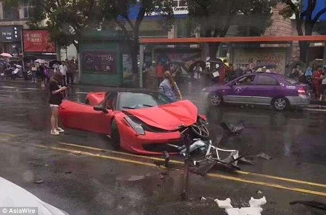 ferrari bmw car crash